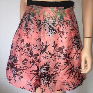 Nanette Lepore Floral Birds Mini Skirt Coral New 2